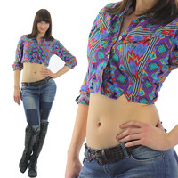 Crop Top tribal print Bohemian shirt 80s Gypsy Cropped Purple button up Vintage 1980s western long sleeve collared  Geometric small medium
