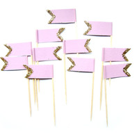 12 Lilac & Gold Glitter Flag Cupcake Toppers - Washi Tape Cupcake Toppers, wedding, engagement, birthday, baby shower, tea party