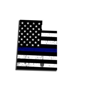 Utah Island Distressed Subdued US Flag Thin Blue Line/Thin Red Line/Thin Green Line Sticker. Support Police/Firefighters/Military