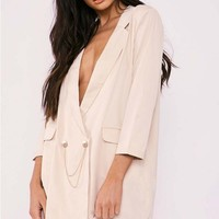 SARAH ASHCROFT STONE OVERSIZED PLUNGE CHAIN TRIM BLAZER DRESS