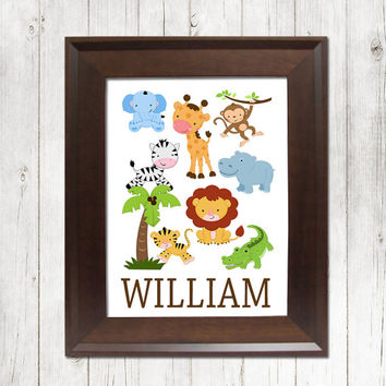 BOY Safari Wall Art Nursery Cute Animal Zoo Jungle Artwork Child Name Custom Personalized Birthday Party Single Print Decor Baby Shower Gift
