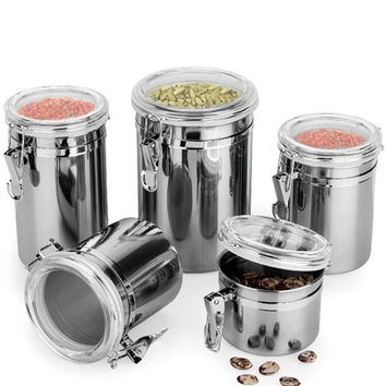 Kitchen Container Boxes 4 Size Metal Storage Food Bottles Sugar Tea Coffee Beans Canisters snack Cans Tools
