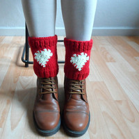 Knit Boot Cuffs, Heart Legwarmers, Red Boot Cuffs, Heart Knit Cuffs, Red Boot Toppers, Love Heart Red Knee Socks,Christmas Gift