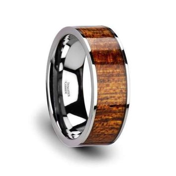 Exotic Mahogany Hard Wood Inlaid Tungsten Carbide Ring With Polished Edges - 8 mm