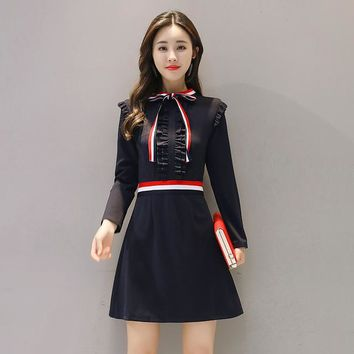 Japanese Style Women's Spring Dress Full Sleeve Bow Neck Lolita Sweet Female Autumn Uniform Mini Dress College Wind Clothes Girl