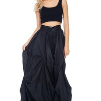 Penelope Pleated Gathered Ruffle Maxi Skirt
