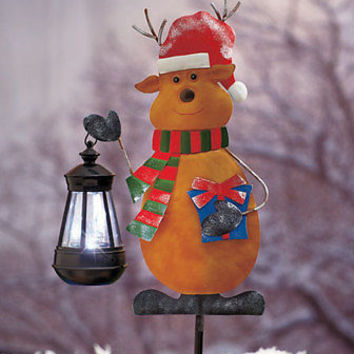 Reindeer Holding Lighted Solar Lantern Holiday Yard Stake Christmas Decor