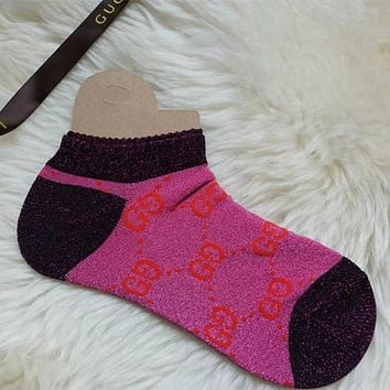 GUCCI Woman Men Print Cotton Socks