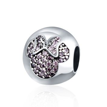 Sterling Silver Purple CZ Minny Mouse Charm