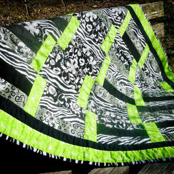 Zebra Lime Green Baby Girl Quilt Black Zebra Stripe Toddler Crib Quilt