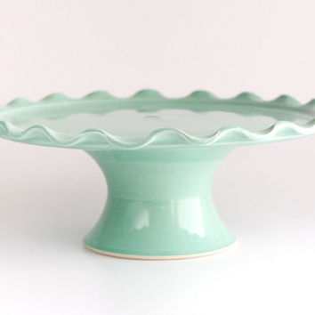 "Small Cake Stand - 7"" - Ruffle - Green"
