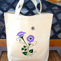 Hand Painted Tote With Beaded Flowers and A Bee Applique
