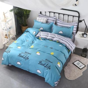 Simple Home Textile Autumn Dark-color Flower Series Bed Linens 4pcs Bedding Sets Bed Set Duvet Cover Bed Sheet Mans Cover Set
