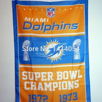 Miami Dolphins Super Bowl Champions Flag 150X90CM Banner 100D Polyester3x5 FT flag brass grommets 001, free shipping