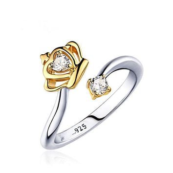 Exquisite Crown Ring Gold Color CZ Rings for Women Fashion Plated Aneis De Ouro Zirconia Jewelry
