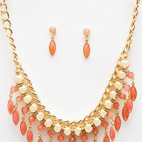 Charming Delilah Necklace Set - Coral - One