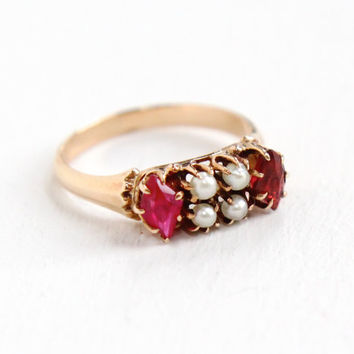 Antique Victorian 10k Rose Gold Ruby & Garnet Seed Pearl Ring - Vintage Late 1800s Red Gemstone Fine Jewelry