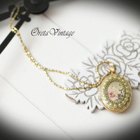 Necklace jewelry vintage, photo locket pendant, green pearls & pink flower, brass antique style, adjustable chain length, romantic victorian
