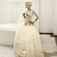 vintage ball gown strapless organza with flowers wedding dress