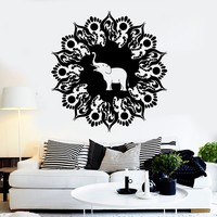 Vinyl Wall Decal Mandala Elephant Hinduism Meditation Stickers Unique Gift (ig4172)