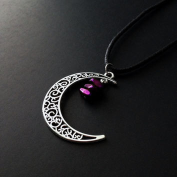 Crescent Moon Choker, Purple Choker, Moon Necklace, Black Choker, Witchy Jewelry, Grunge Jewelry, Gothic Moon, Silver Moon, Witchy Woman