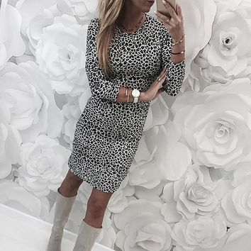 Sexy leopard women dress Slim fit bodycon o-neck sexy dress spring ladies dress vestidos de fiesta