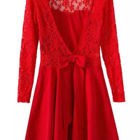 Long Sleeved V-Back With Bow Lace Red Dress