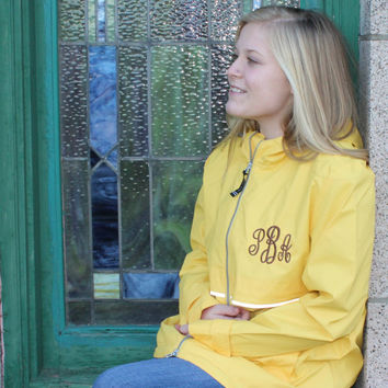 Monogram Rain Jacket Yellow Raincoat Personalzied Charles River Apparel