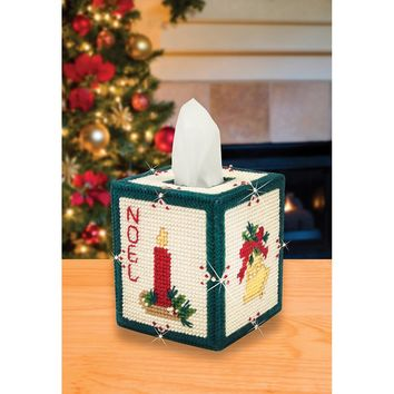 Christmas (7 Count) Mary Maxim Plastic Canvas Tissue Box Kit 5""