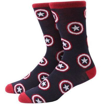 Marvel Captain America Sheild Logo All Over Adult Unisex Crew Socks - Blue