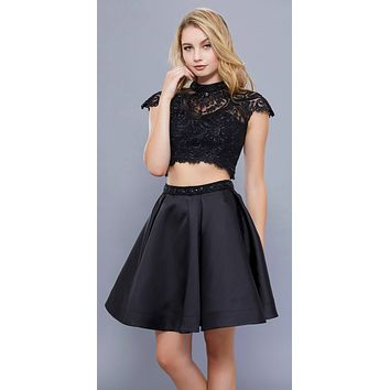 Black Short Sleeves Crop Top Two-Piece High Neck Homecoming Dress