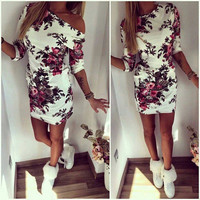 SIMPLE - Summer Women's Fashionable Floral Neck Off Shoulder Casual Party Mini Skirt Dress b3055