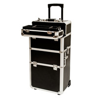 2 in 1 Rolling Makeup Artist Travel Cosmetic Case Organizer