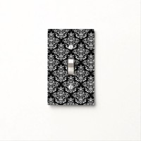 Stylish Elegant Black And White Damask Pattern Switch Plate Cover