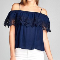Crochet Lace Off Shoulder Crop Top