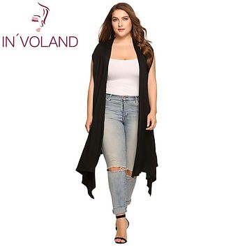 IN'VOLAND Women's Cardigan Plus Size Sleeveless Solid Draped Open Front Asymmetrical  Summer Autumn Over Hip Long Cardigan