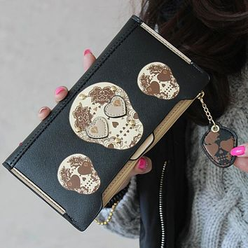 Women money bag Boutique High-grade leather Wallet Punk Skull Print Ladies purse womens wallets long feminino