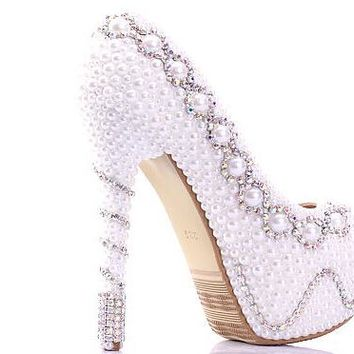 pearl wedding pumps