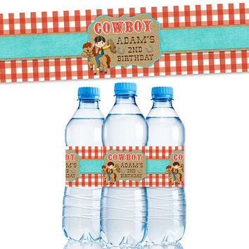 Retro Cowboy Water Bottle Labels - Boys Western Birthday Party Favors - Boy Birthday Party Ideas - 2nd Birthday Party - TWO Custom Supplies