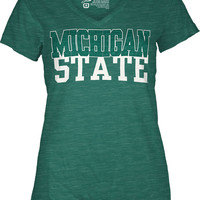 MSU Spartans Green Womens Kingston Short Sleeve V-Neck