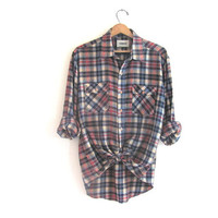 20% OFF SALE / Vintage Campus Plaid Grunge Shirt / Boyfriend button up shirt