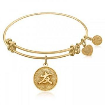 ac NOVQ2A Expandable Bangle in Yellow Tone Brass with Chinese Friendship Bond Symbol