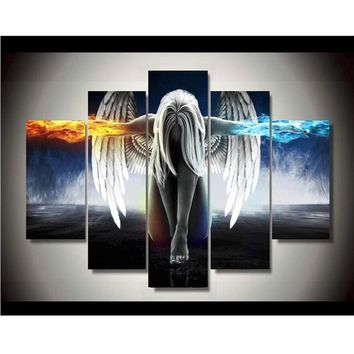 5 piece Canvas Painting Angel Girl Wings Fire and Ice Prints Painting Wall Art Angeles Girl Panel Poster Printed On Canvas Decor