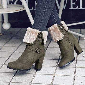 Ankle Snow Boots With Fur