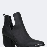 Side Cutout Metal Tip Ankle Boot