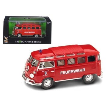 1962 Volkswagen Microbus Police Fire Department 1-43 Diecast Car Model by Road Signature