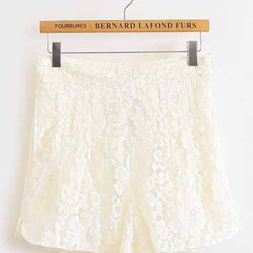 Floral Lace High Waisted Shorts
