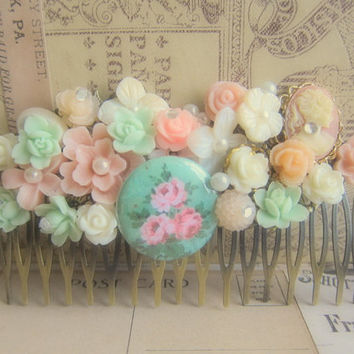 Shabby Chic Hair Comb Bridesmaids Hair Comb Pink Mint Green Peach Coral Wedding Bridal Hair Comb Hair Jewelry Accessories