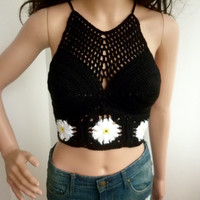 BLACK Flowers Beach Clothes Crop Top Boho Hippie Fringed White Crochet Top Crochet Halter Top Cotton Halter Hippie Fringes Nude 099