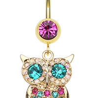 Golden Colored Owl Sparkle Belly Button Ring